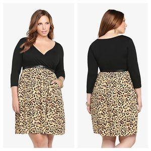 Torrid Leopard Animal Print Knit to Woven Dress 0